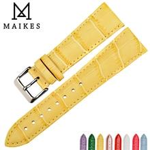 MAIKES Accessoires de Montre En Cuir Véritable Bracelet de Montre Nouveau Jaune bracelets de montre Dalligator Bracelet pour dw daniel wellington