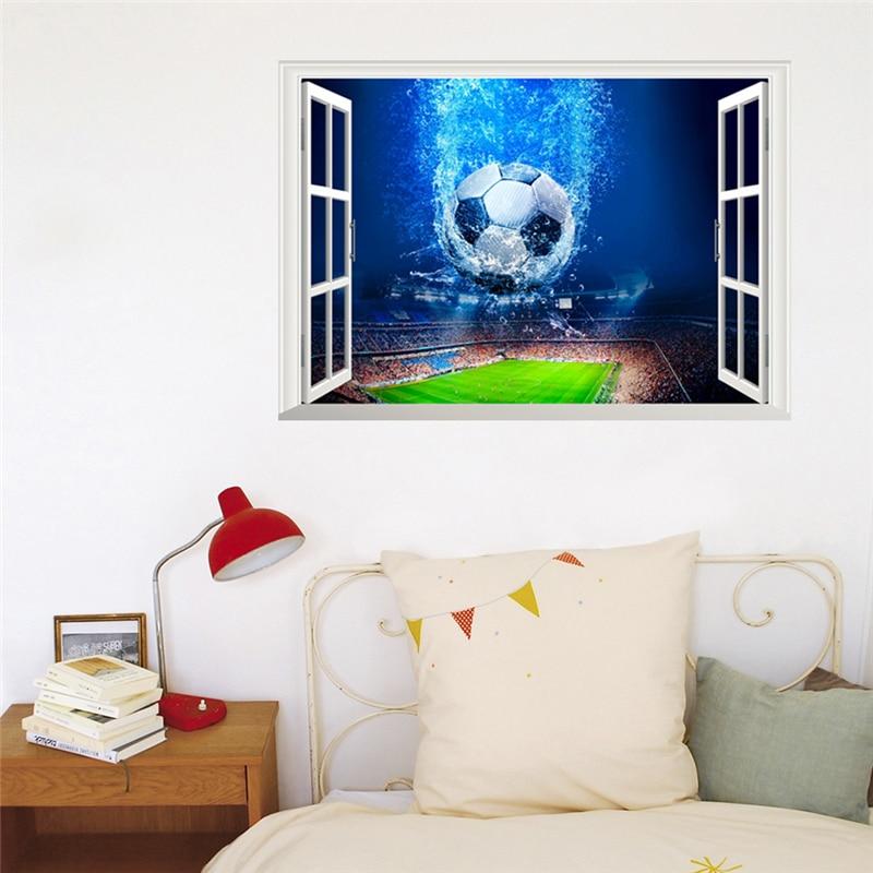 3d effect football window wall decals bedroom club bar home decor gym soccer ball wall stickers pvc mural art diy posters