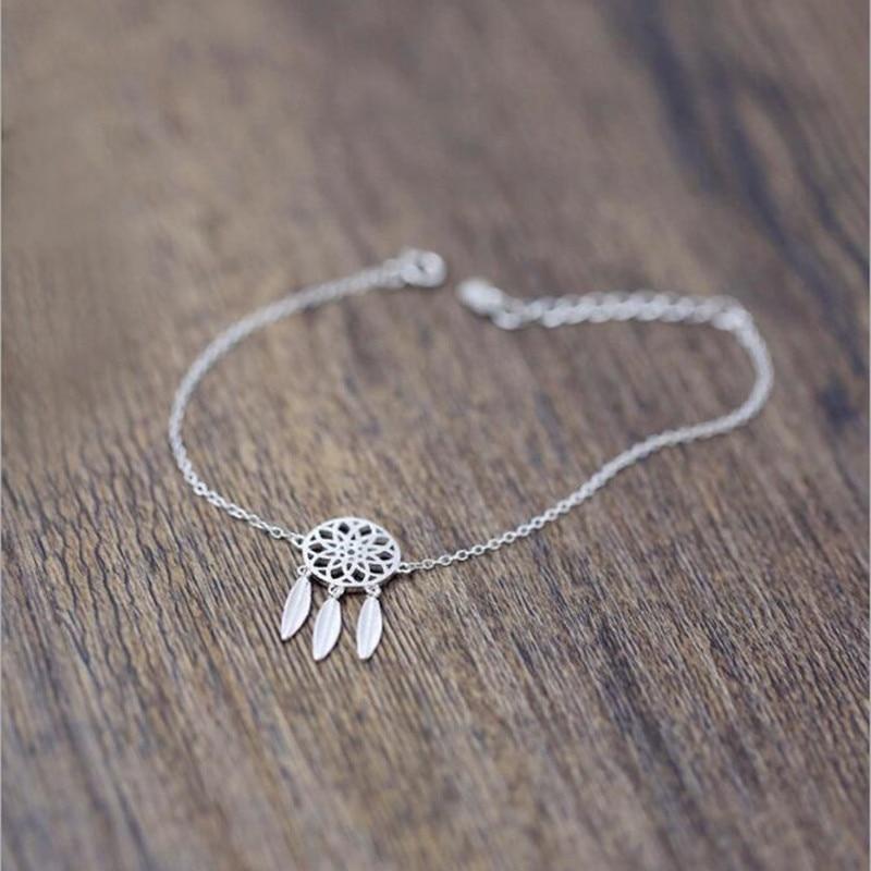 Venda quente moda 925 prata esterlina pulseiras apanhador sonho com penas estilo étnico elegante feminino pulseiras sb64