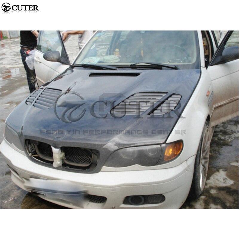 Cubierta delantera de fibra de carbono E46 serie 3 Sedan M3, cubiertas de motor Bonnets para BMW E36 325i Sedan 98-04
