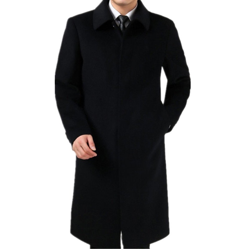 2018 Autumn and winter woolen overcoat male plus velvet thickening cashmere trench Single Breasted wool ultra long wool coat