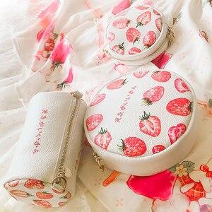 Angelatracy 2019 New Arrival Stawberry Red Bucket Lolita JapanFruit Cute Girl Sweet Lady Circular Messenger Bag Crossbody Bags