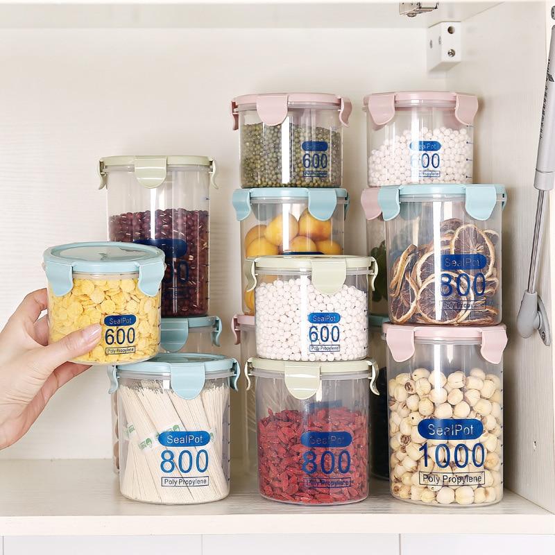 Latas selladas transparentes de 1000 ML, contenedores de alimentos, refrigeradores de cocina, nevera, Caja de almacenaje para congelador, organización de almacenamiento de cocina