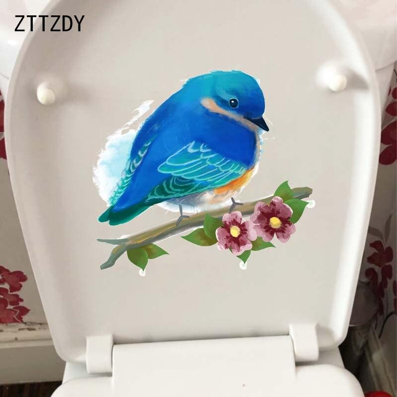 ZTTZDY-autocollant mural 22.9x21.1CM   Autocollant de décoration pour salle de bain, plantes, fleurs, oiseaux, CM