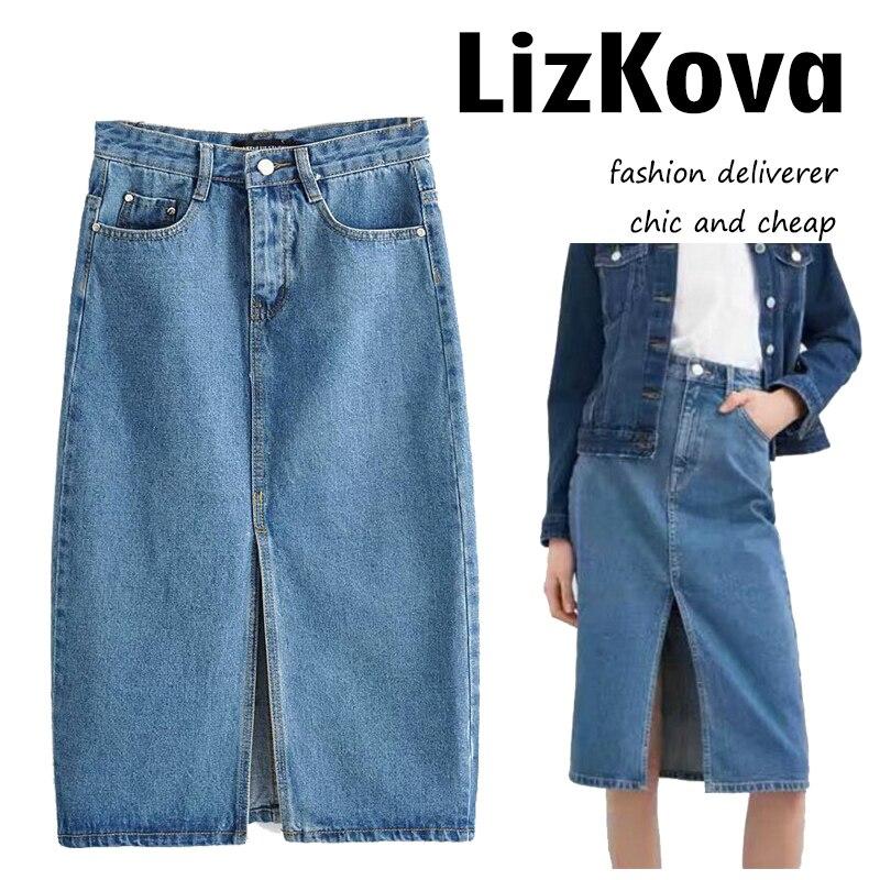 Женские винтажные синие джинсы с высокой талией, прямые джинсы с разрезом спереди, уличная мода 2020
