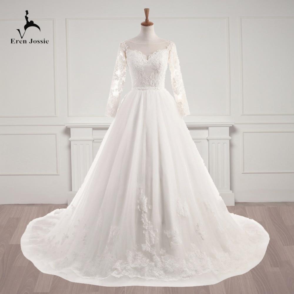 Eren Jossie personalizar vestido de boda de estilo de manga completa con apliques y cinturón de cuentas impresionante corsé vestido de novia con espalda