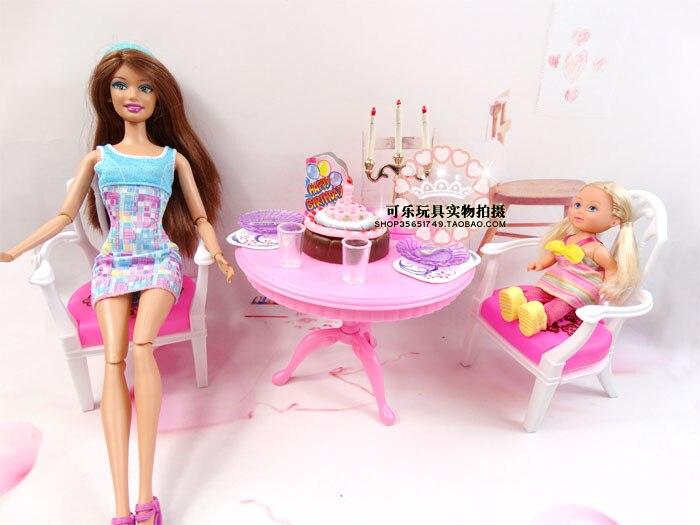 Conjunto de juegos de tiempo de fiesta para casa de muñecas barbie,...