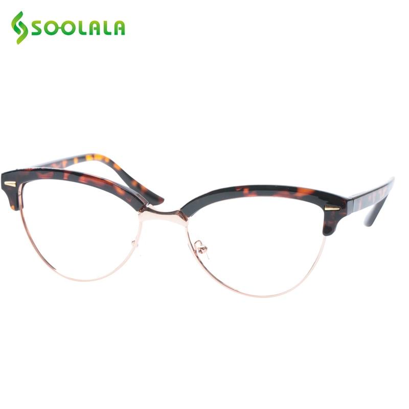 SOOLALA Semi-rimless Cat Eye Glasses Frame Women Men Optical Myopia Eyeglasses Eyewear Anti Blue Ray Glasses Computer Glasses