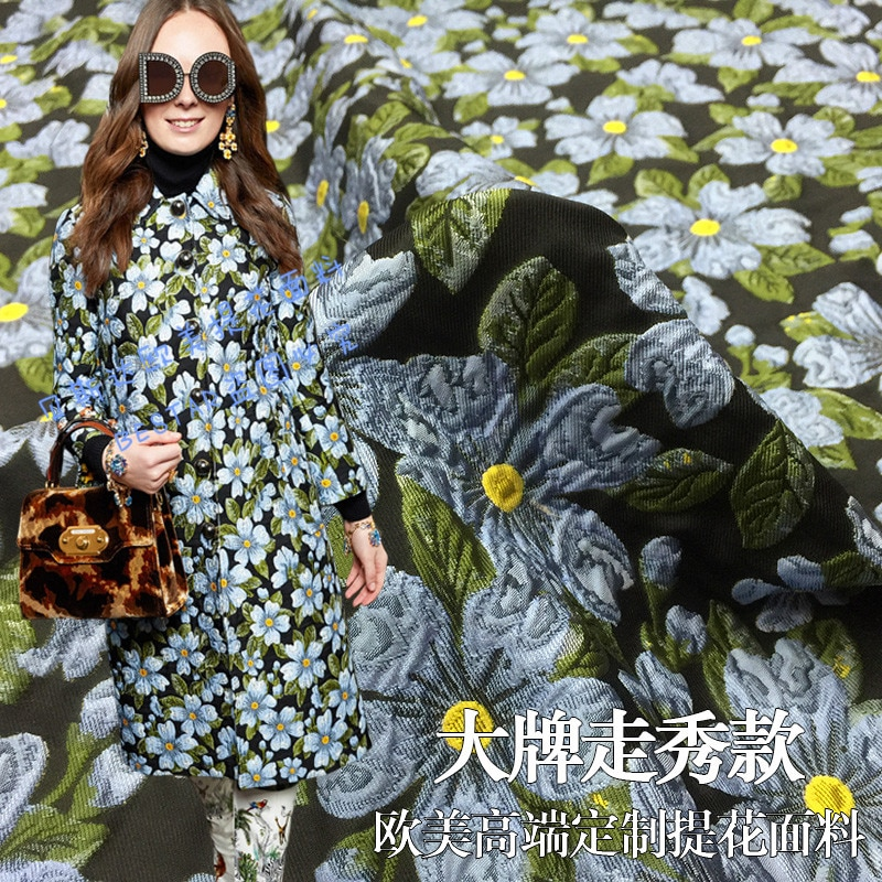 Tela brocada jacquard de 1 metro para coser telas teñidas de hilo, ropa de flores, ropa, abrigo, acolchado para patchwork DIY suave