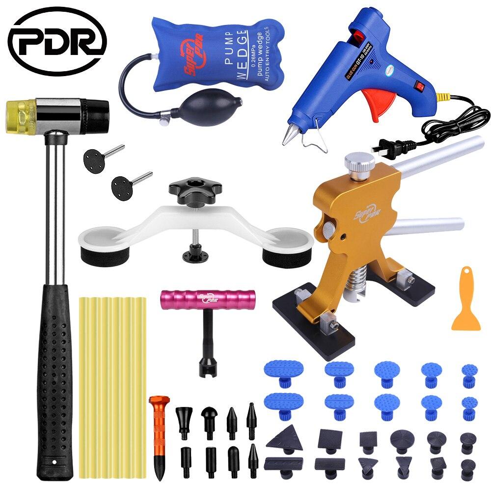 PDR, removedor de reparación de abolladuras sin pintura, juego de herramientas manuales elevadoras con pegamento, pistola de pegamento, martillo de goma para cualquier caída de abolladura de coche