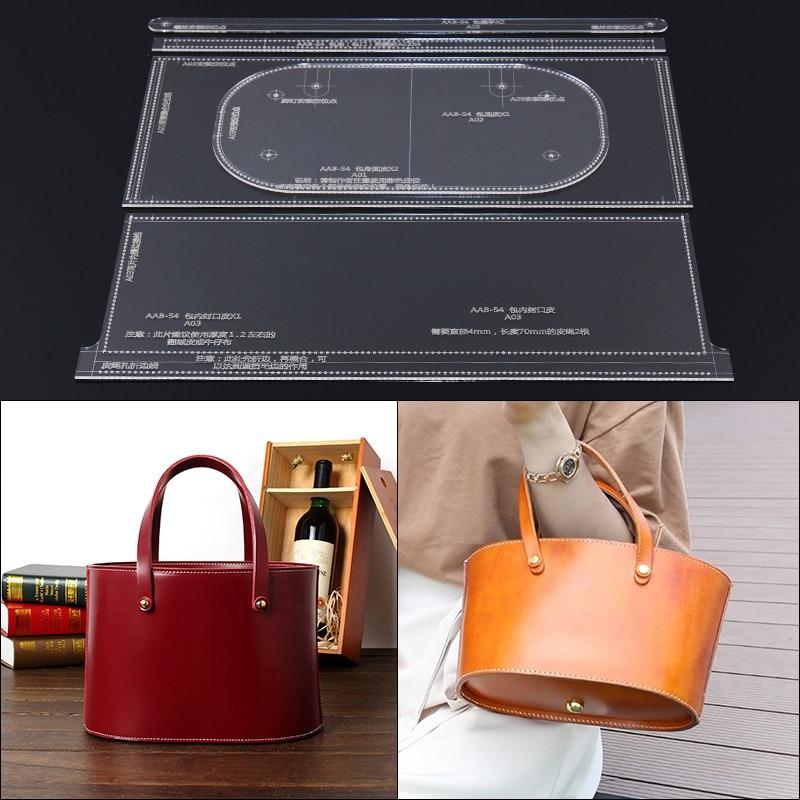 1set DIY Leather Handmade Craft Women's portable diagonal package Sewing Pattern Hard Kraft paper Stencil Template