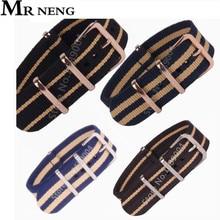 MR NENG Brand Wholesale/1pcs Nato Strap 18mm 20mm 22mm Nylon Military Sport Wrist Watch Band Strap 2