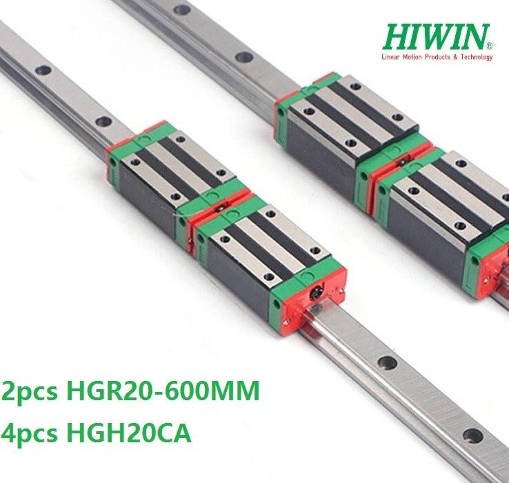 2 قطع الأصلي أداة توجيه طولية من هايون السكك الحديدية HGR20-L 600 ملليمتر + 4 قطع HGH20CA أو HGW20CA الخطي النقل بلوك ل CNC HGW20CC