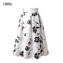 BIG SALE ! ORMELL Fashion Skirts For Women New Arrival Autumn Long Skirts Style Ladies White Flower Elegant Pleated Midi Skirt