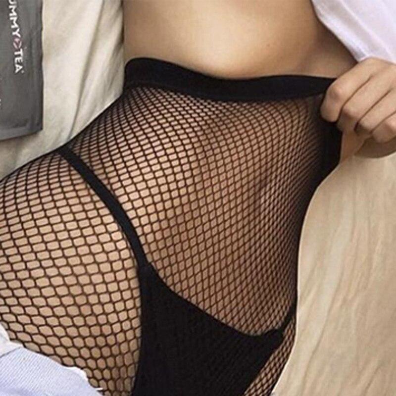 Medias de malla de moda para mujer, pantis sexys calados sencillos negros para mujer, medias ajustadas de red, medias para fiesta y club