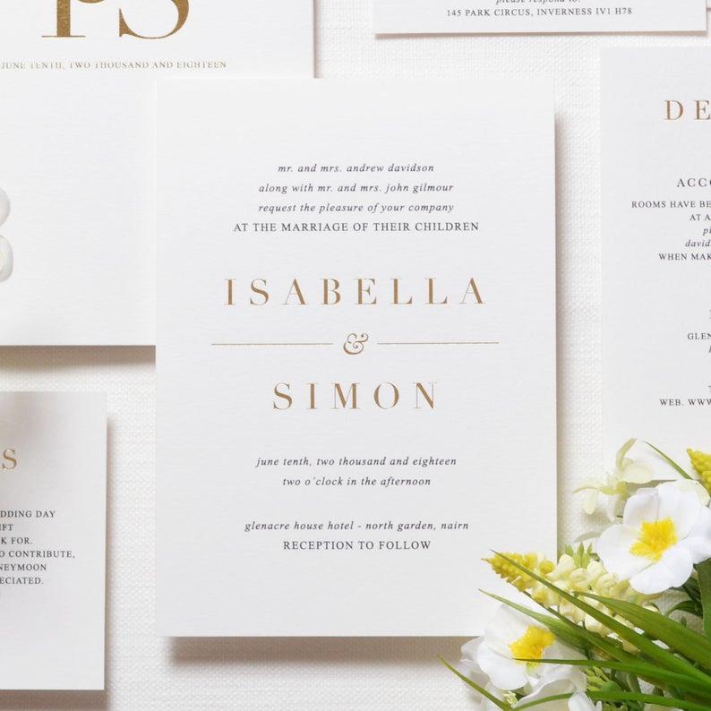 Cartões lisos simples do convite do casamento da folha de ouro (convite de 1 mian + 1 cartão pequeno 500 gsm)