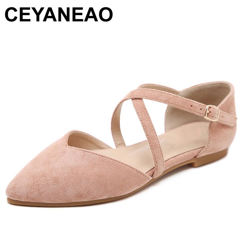 CEYANEAOFall Women Comfortable Black Pink Suede Ballet Flats T Strap Ladies Soft Pointed Toe Ballerina Flat Plus Size PartyE1133