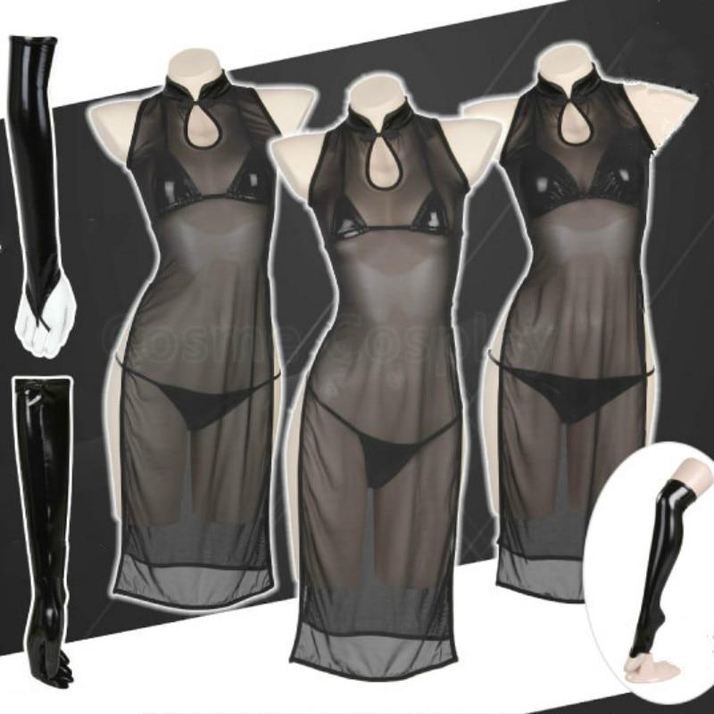 Cos anime net cheongsam + bikini cosplay traje laca conjunto de biquíni bronzeamento couro quente lingerie sexy net qipao preto chi-pao