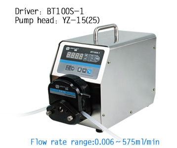 BT100S-1 YZ25 Pump Head Lab Industrial Stainless Variable Speed Flow Peristaltic Pump Fluid Dosing Pumps 0.16-420ml/min