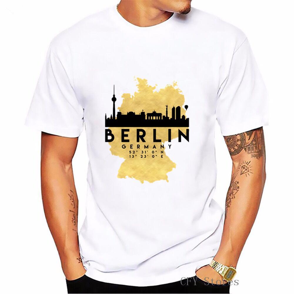 2019 moda pop impreso hombres Camiseta de algodón Camiseta cuello redondo de manga corta hombres camiseta BERLIN Alemania silueta Mapa de SKYLINE arte