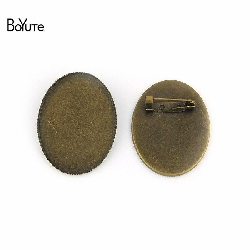 BoYuTe 10 Uds Oval 30*40MM cabujón Base en blanco Configuración de la bandeja bronce antiguo Oval plateado Vintage bases para broche