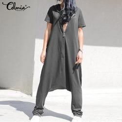 Celmia macacões femininos plus size macacão 2020 verão manga curta hoodies macacão casual drop-virilha playsuits zip calças femininas