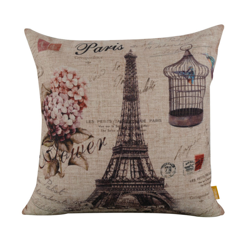 Linkwell 45 x 45 cm Retro Paris torre Eiffel Birdcage capa de almofada decorativa caso jogar travesseiro para decoração de casa sofá flor lilás