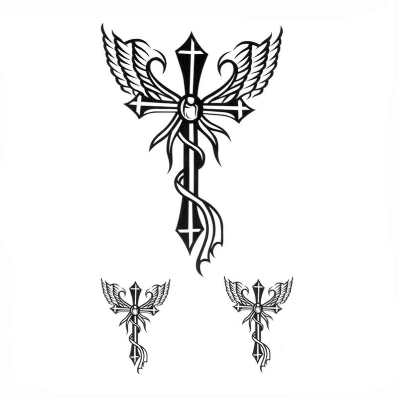Cross of Jesus Waterproof Temporay Tattoos Sticker Tatoo Sleeve  Harajuku Fake tattoo Sleeves tattoo sticker for body