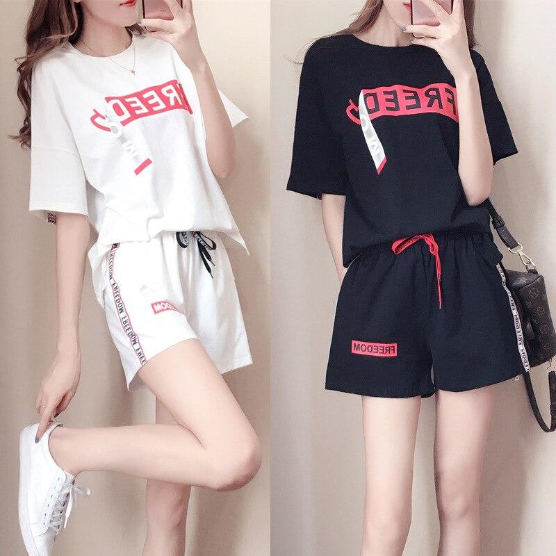 Conjunto de dos piezas mujer Casual impreso letras ropa de calle 2019 verano camiseta pantalones cortos chándal cómodo traje deportivo