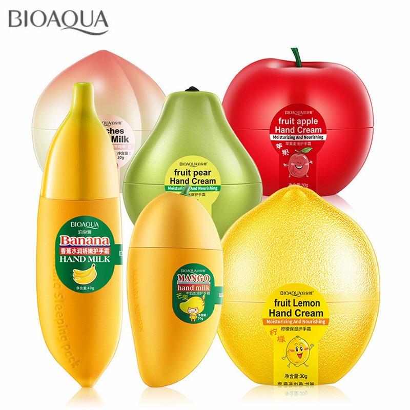 6PCS/lot Mini Cute Peach Banana Mango Apple Moisturizing Whitening Fruit Hand Cream for Winter Hand Care Lotion Nourishing Skin