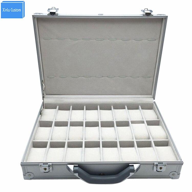 Luxury Aluminum Watch Box Suitcase Storage Watch Display Key-Lock Case, Aluminum Watch Storage Security Box, 24 Unit Spaces
