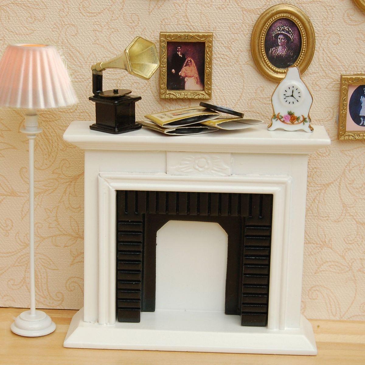 1/12 escala DIY hecho a mano chimenea blanca casa de muñecas decoración muebles accesorios Kits Mini juguetes regalo para niños
