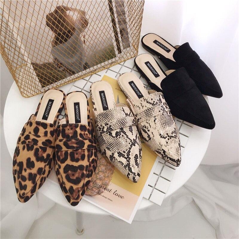 Zapatos de tacón bajo para mujer, zapatillas con puntera, pantuflas con deslizamiento superficial, mocasines de leopardo con estampado de serpiente para mujer, sandalias negras para mujer