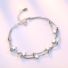 Crazy feng elegante corrente pulseira prata cor contas estrelas charme pulseira para mulheres cobra link corrente pulseira jóias presente