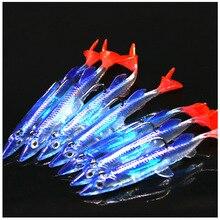 Silicone souple T queue unique appât souple 80mm/6g 3D yeux réaliste unique crochet Wobbler Isca artificiel doux mer pêche leurre