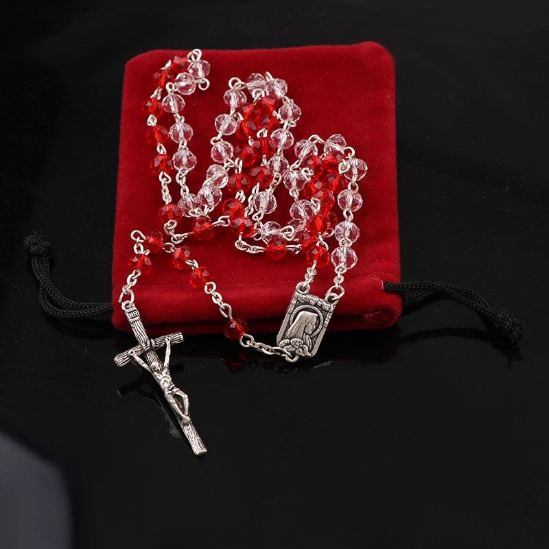 2 cores católica fantasia 4*6mm cristal vermelho galss rosário colar banhado a prata jesus cruz pingente facetado vidro rosários jóias