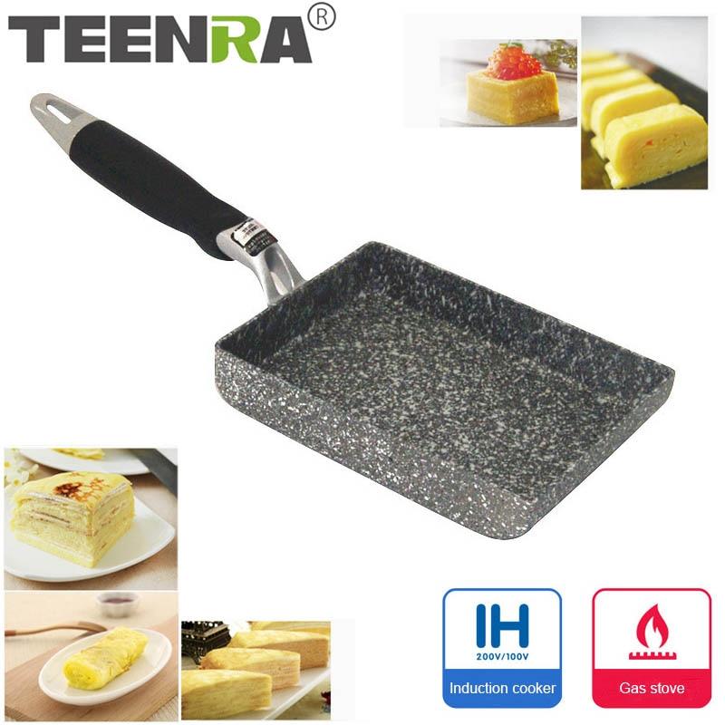 TEENRA из алюминиевого сплава жареные яйца сковороды мини квадратная антипригарная сковорода в японском стиле жареные яйца сковородки чайник для завтрака