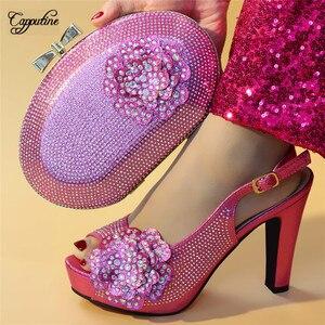 Великолепные босоножки на высоком каблуке для свадьбы/вечерние, цвет фуксия, обувь и сумка вечерние НКИ с красивыми камнями, искусственная Высота каблука 11,3 см
