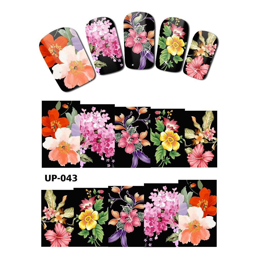Переводная наклейка в виде цветов розы, пиона, бабочки, UP043-048