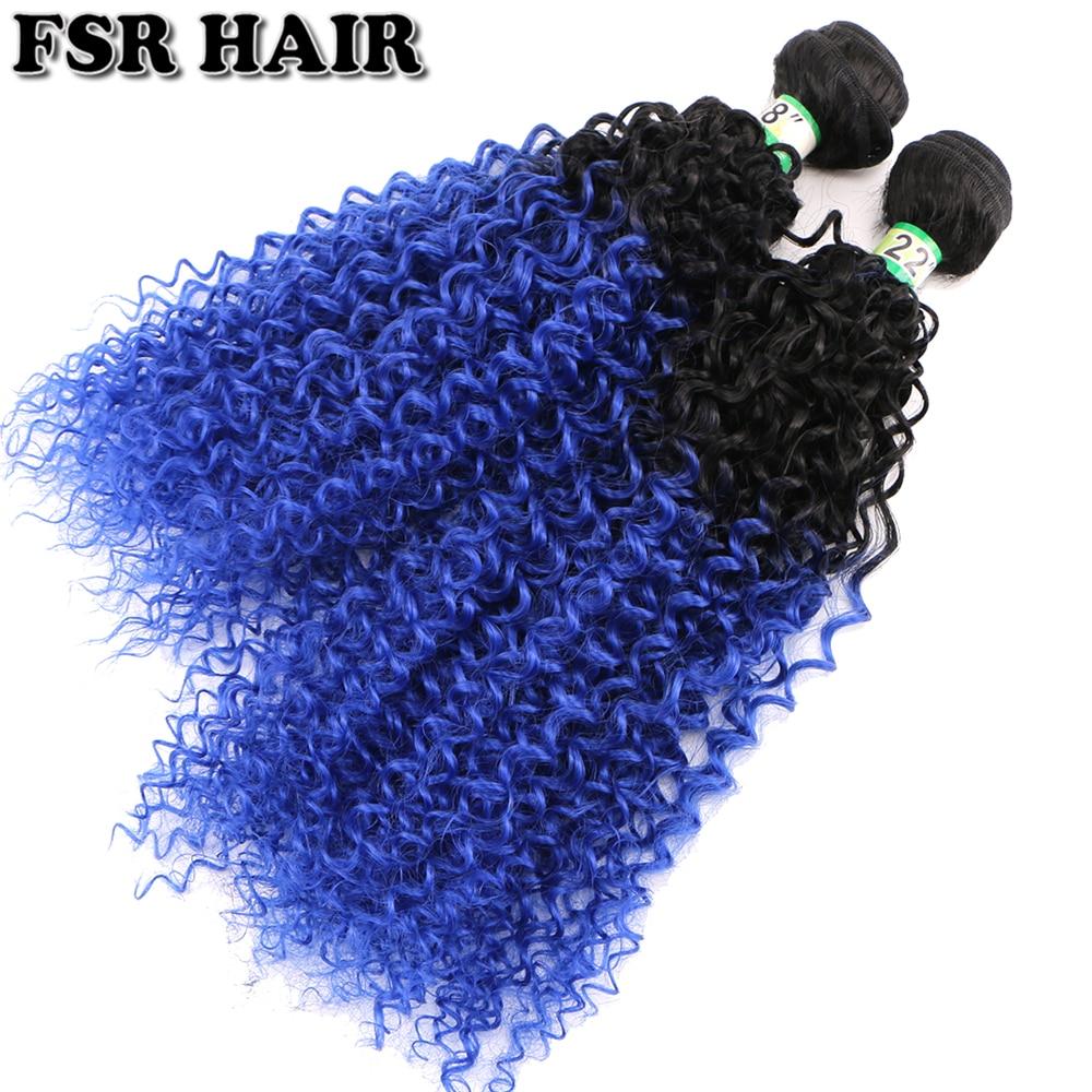 Extensiones de pelo rizado ombré de dos tonos negro a azul 100 g/unid