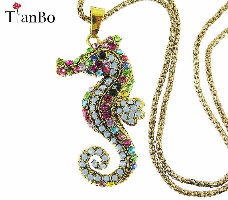 TianBo Completa multicolor Cristal Seahorse Pingente Colares Cadeias Camisola Longa Para As Mulheres Moda Animais Jóias Dropshipping