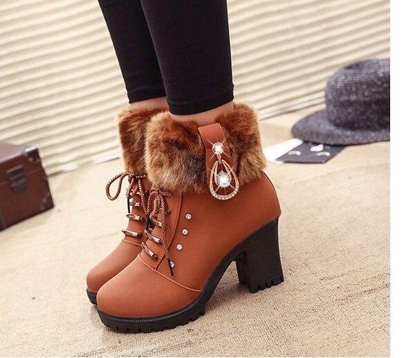 Boots para Mulher Botas de Salto Botas Femininas Ankle Alto Inverno Sapatos Femininos Hoof Calcanhar Quente Tamanho 35-41 Mujer 2021hot