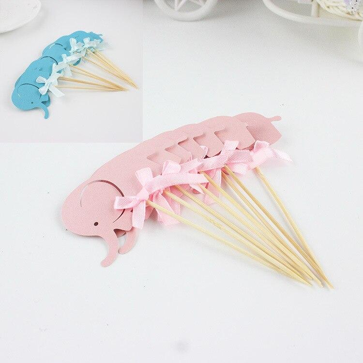 10 Uds. Cupcakes de elefante rosa y azul con pajarita, Adornos para pastel de animales, palillos para niños, cumpleaños, Baby Shower, decoración del desierto