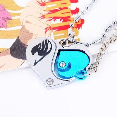 Nuevo diseño, superventas, cola de Hada de Anime, amantes de San Valentín, parejas, Diamante, corazón, colgante collar para Cosplay, figura de acción, juguete de Cosplay