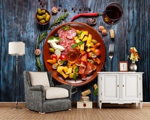 Papel de parede Sausage Olive Ham Cheese Wine Wood planks Food 3d wallpaper,fast food shop restaurant dining room kitchen murals