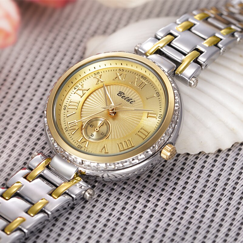 Genuine BELBI Creative Watch Women Stainless Steel Waterproof Watch Super Slim Mesh Belt Clock Ladies Gift Watch Relogio Feminin