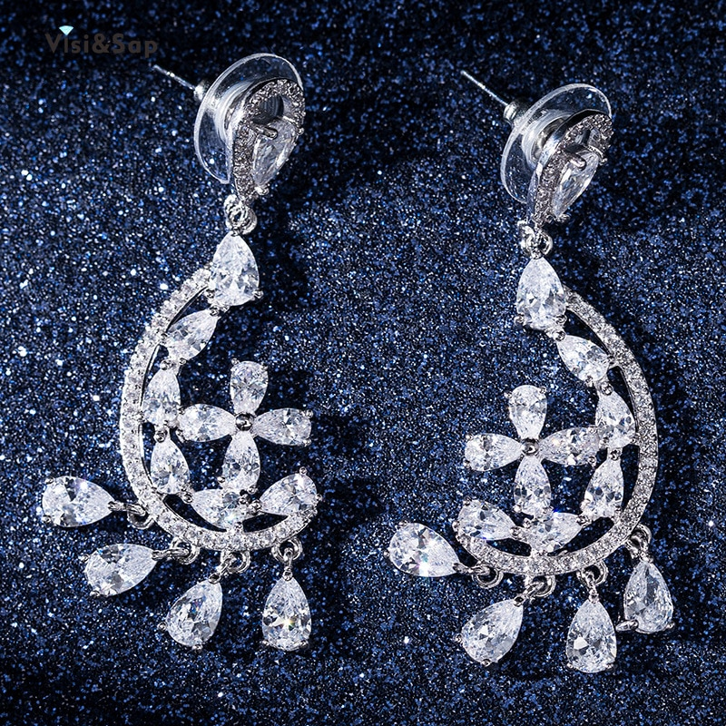 Visisap coreano flor repleto de circonita con incrustaciones pendientes para las mujeres de moda borlas larga gotas venta al por mayor de joyería EH057