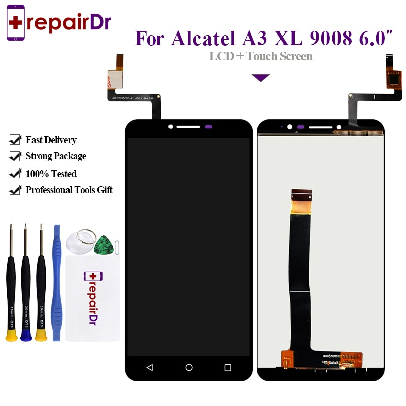 Pantalla LCD de 6,0 pulgadas para Alcatel One Touch A3 XL OT9008 9008 9008X Lcd pantalla táctil digitalizador reemplazo de montaje