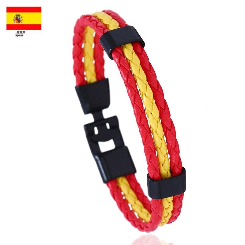 Bandeira nacional cor es espanha multi camada pulseira de couro para homens moda preto handemade masculino jóias pulseira masculina