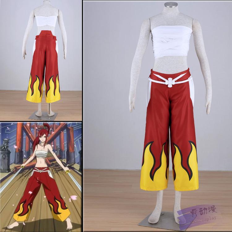 Japonês fada anime cauda erza scarlet traje terno traje cosplay trajes de festa do dia das bruxas para mulheres da menina calça + Tops Tubo